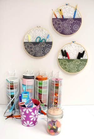 Tutorials | Urban Threads: No Sew Wall Pocket - show off your favorite embroidery and organize your studio all at once!