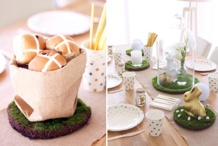 Easter Ideas!  Fill a cute jute sack with yummy hot cross buns and scatter some artificial moss runners across the table. Check out our Easter blog http://blog.hipandhooray.com.au/2016/03/gold-white-easter.html
