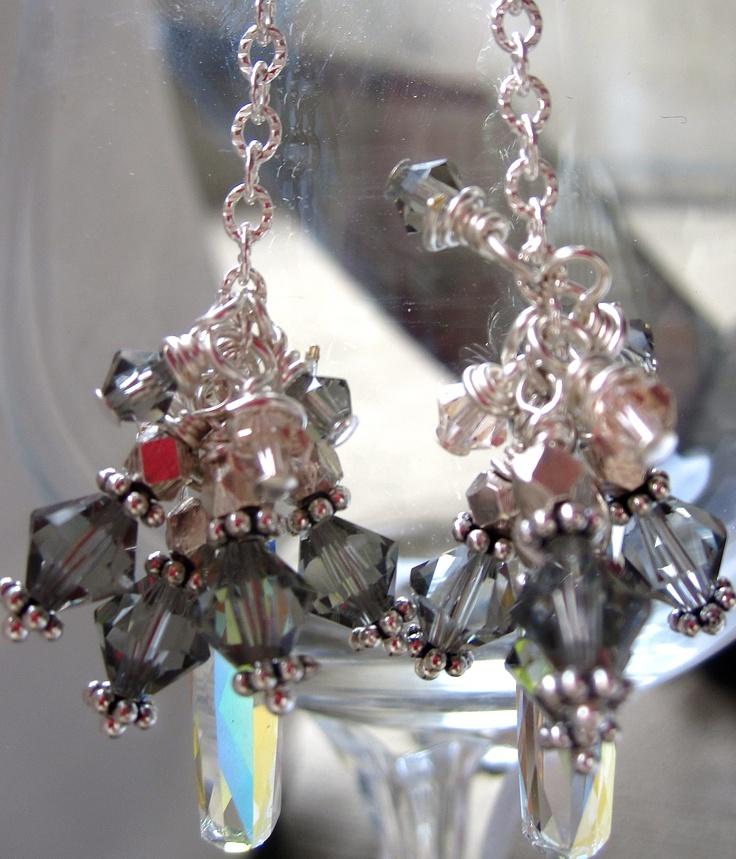 Clear Swarovski Column Earrings