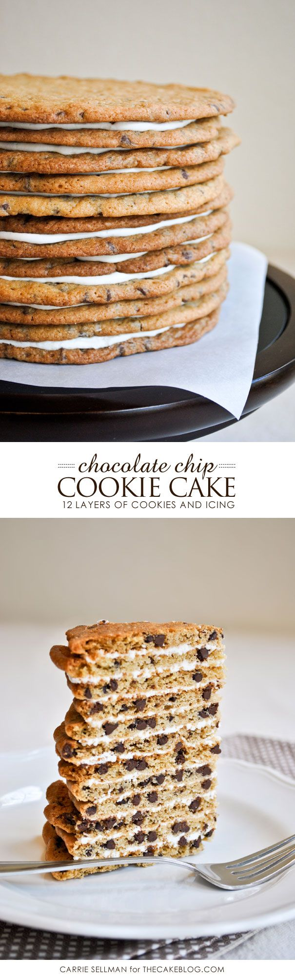 celebrate Chocolate Chip Cookie Day on May 15th!  | 12 Layer Chocolate Chip Cookie Cake  |  Carrie Sellman for TheCakeBlog.com