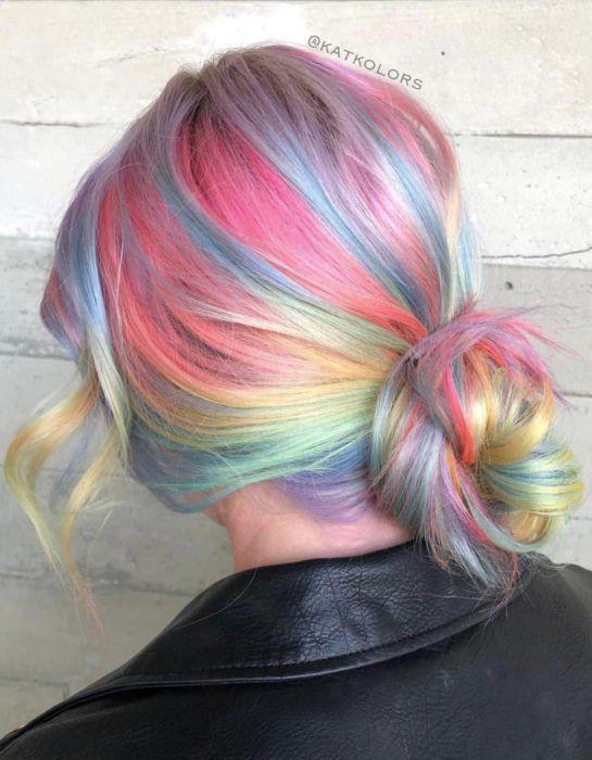 Pastel Rainbow Hair, Multicolored Hair, Rainbow Nails, Hair Color Dark, Cool Hair Color, Hair Colors, Blorange Hair, Hair Dye, Pulp Riot Hair