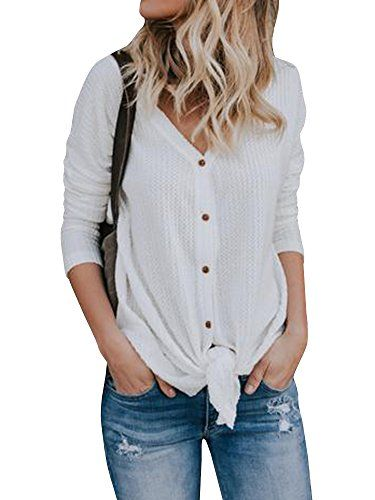 Womens Button Down Shirts Thermal Long Sleeve V Neck Tie Knot Knitted  Cardigan Tops 989762b45