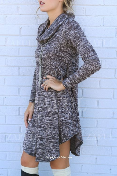 Gray Heaps Collar Long Sleeve Sweater Dress
