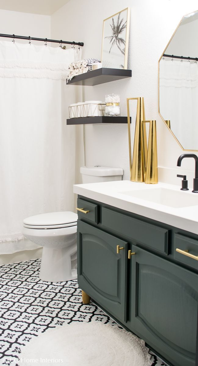 Modern Guest Bathroom Renovation On A Budget One Room Challenge Reveal Small Bathroom Mak Guest Bathroom Renovation Guest Bathroom Remodel Guest Bathrooms