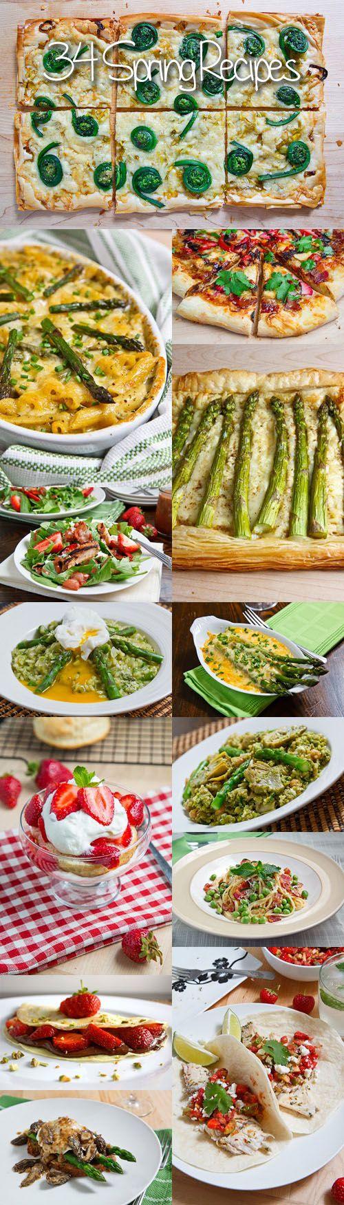 34 Spring Recipes:  Strawberries, Asparragus, Artichokes, Wild Leeks (Ramps), Morel Mushroooms, Fiddleheads, Peas, Rhubarb