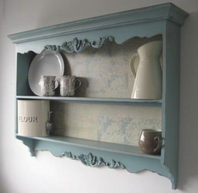 Carved Plate Rack Wall Shelf French Blue Display Cabinet