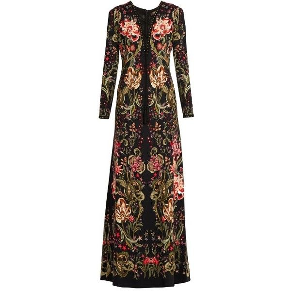 Roberto Cavalli Galaxy Garden Print Crepe Gown ($1,401) ❤ liked on Polyvore featuring dresses, gowns, floral evening dresses, brown evening gowns, floral dresses, floral evening gown and galaxy print dress