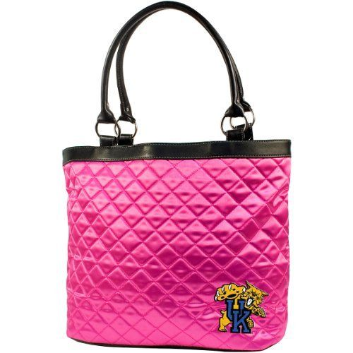 """NCAA Kentucky-Wildcats, University of Pink Quilted Tote by Little Earth. Save 47 Off!. $20.49. Littlearth's Quilted Collection is the perfect bag for the astute Sports Fan.  This Quilted Tote measures 16"""" Length x 5.5"""" Width x 12"""" Height and has an 8"""" Handle Drop.  Trimmed in faux leather this bag features rich satin-like quilting sure to catch the eye of passersby.  Displays embroidered applique of favorite team logo in bottom front right of bag.  Magnetic snap closure at top of bag k..."""