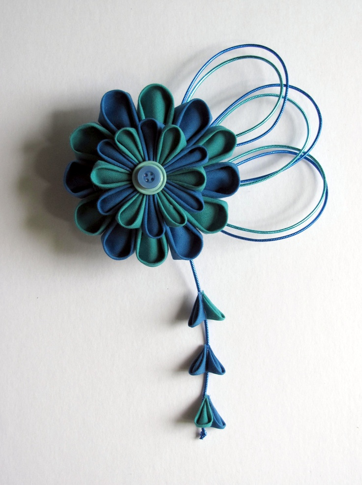 Blue Aqua Kanzashi Hair Fascinator.