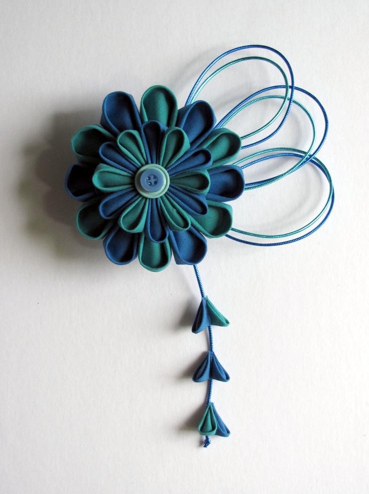 Blue Aqua Kanzashi Hair Fascinator.