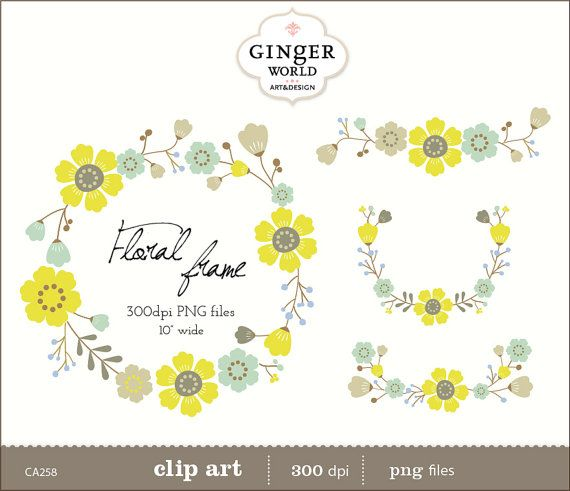 Laurels clipart Wreaths Floral clip art Floral by GingerWorld, $4.50