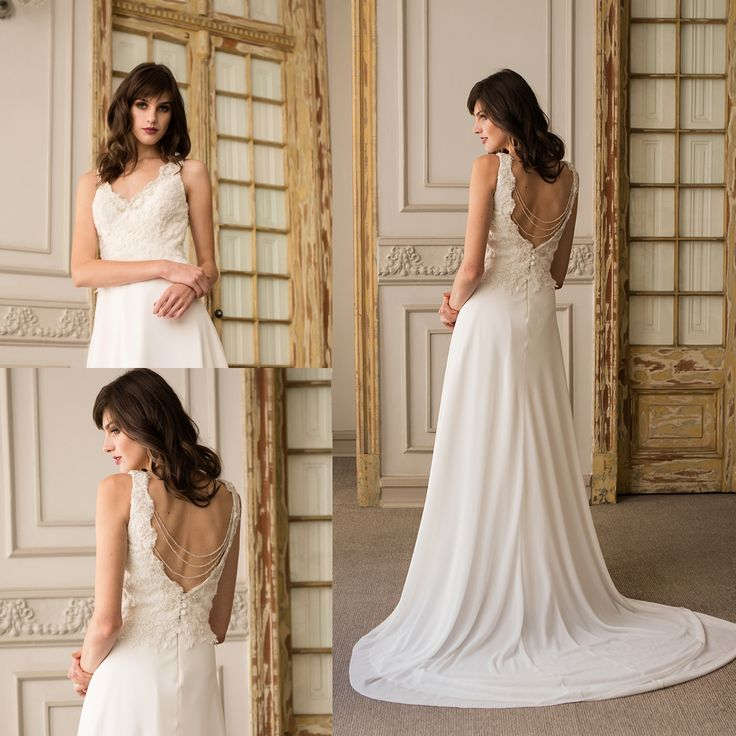 Vestido de novia Minimal bordado · Minimalist Wedding dress with hand embroidered detail