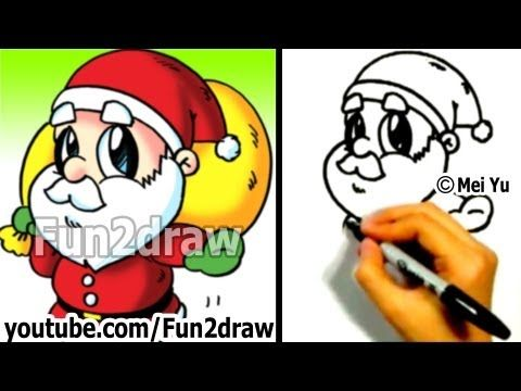 How to Draw Santa - Fun Things to Draw Art Lessons - Fun2draw - YouTube