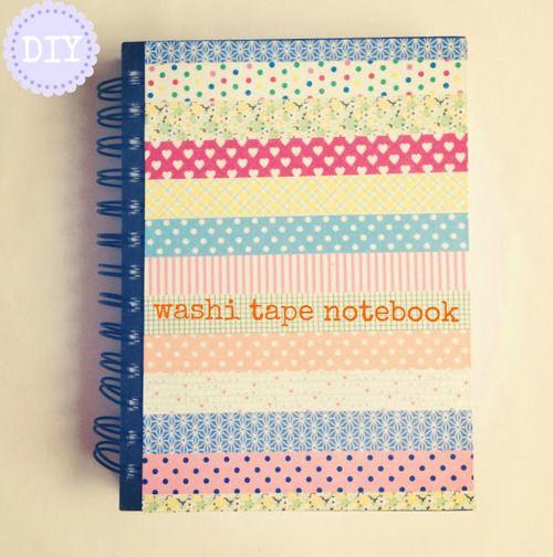Washi Tape Notebook + more inspiration  via Caroline Burke (Burkatron)