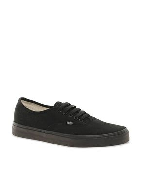 Vans Authentic Classic Black Mono Lace Up Trainers