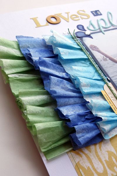How to add coffee filter ruffles to a scrapbook page.