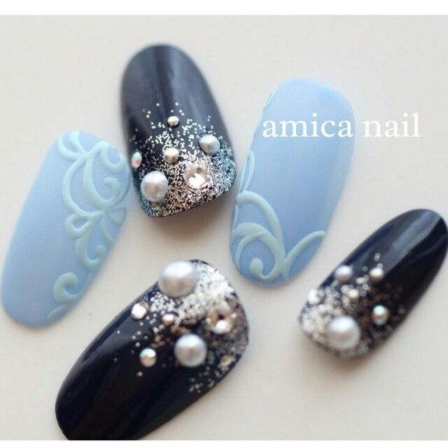 Nails.Navy.Aqua.Pearls.Glitters.3D