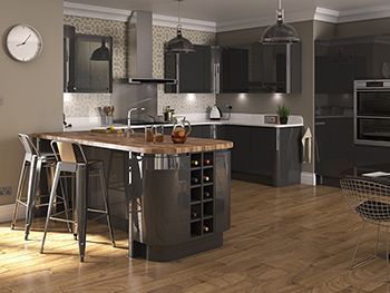High Gloss Kitchens (L-Shaped & Island) & Kitchen Units At Trade Prices - DIY Kitchens