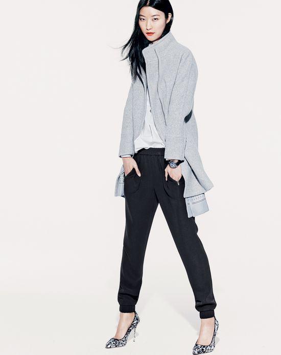 J crew high-collar coat in color block dress