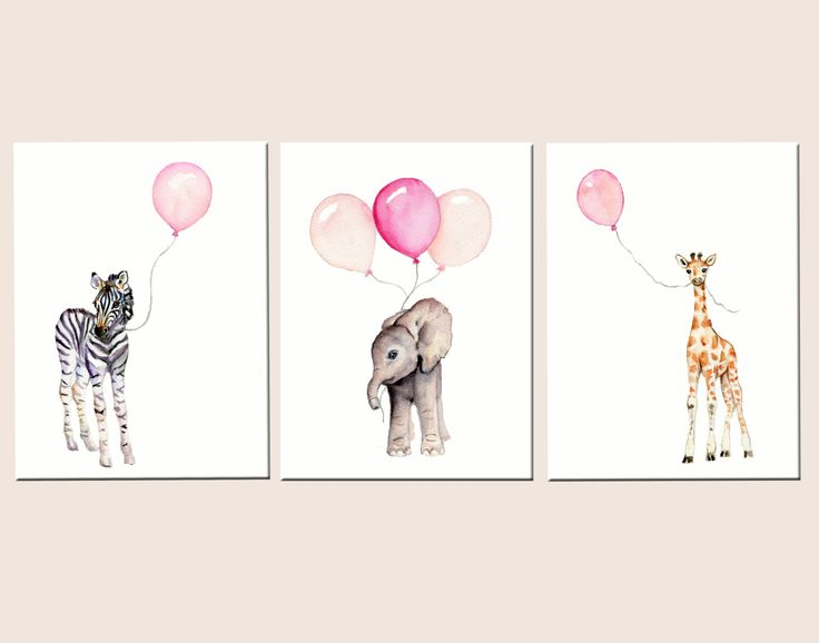 Girls nursery decor, baby print set, nursery set, pastel pink baby decor, safari nursery art, childrens wall art, balloon nursery by Marysflowergarden on Etsy https://www.etsy.com/listing/244737114/girls-nursery-decor-baby-print-set