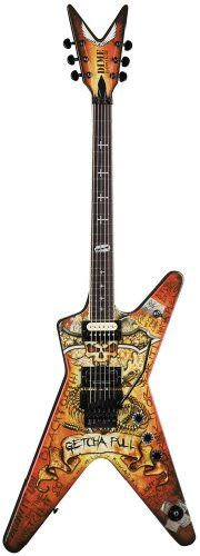 """Dean Dimebag Guitar, Dimebonics ML with Case. Mahogany body with """"Dimebonics"""" graffiti graphics. 24-3/4-inch scale, 22-fret set mahogany neck with rosewood fingerboard and Dime Razor/Cross inlays. Duncan SH-13 Dimebucker and Dean """"DimeTime"""" humbucker with two volume controls, tone, and three-way toggle. Original Floyd Rose Tremolo bridge. Grover tuning machines."""