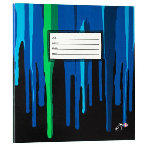 Yoobi x Usher 1 Inch Binder with D-Rings - Black Lines with blue and green paint drip.  Great for a back to school gift!