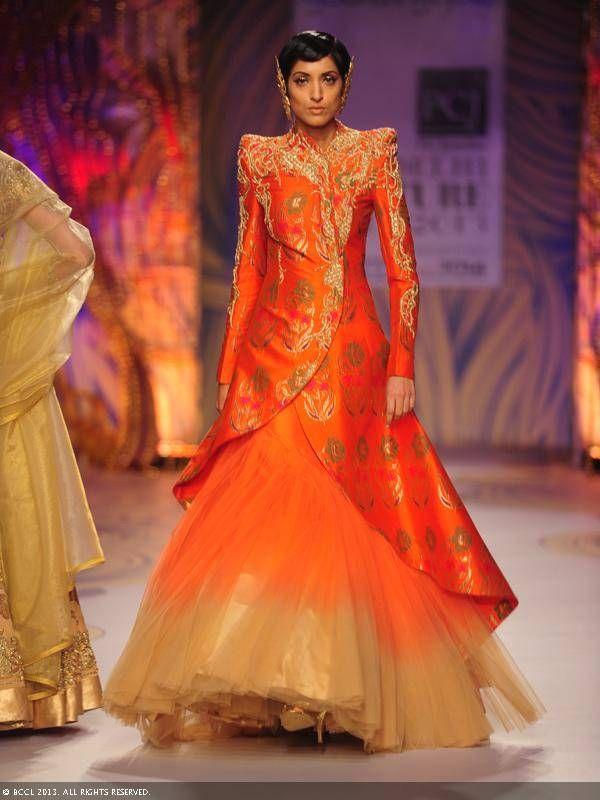 Orange lengha with jacket by Gaurav Gupta at Delhi Couture Week 2013