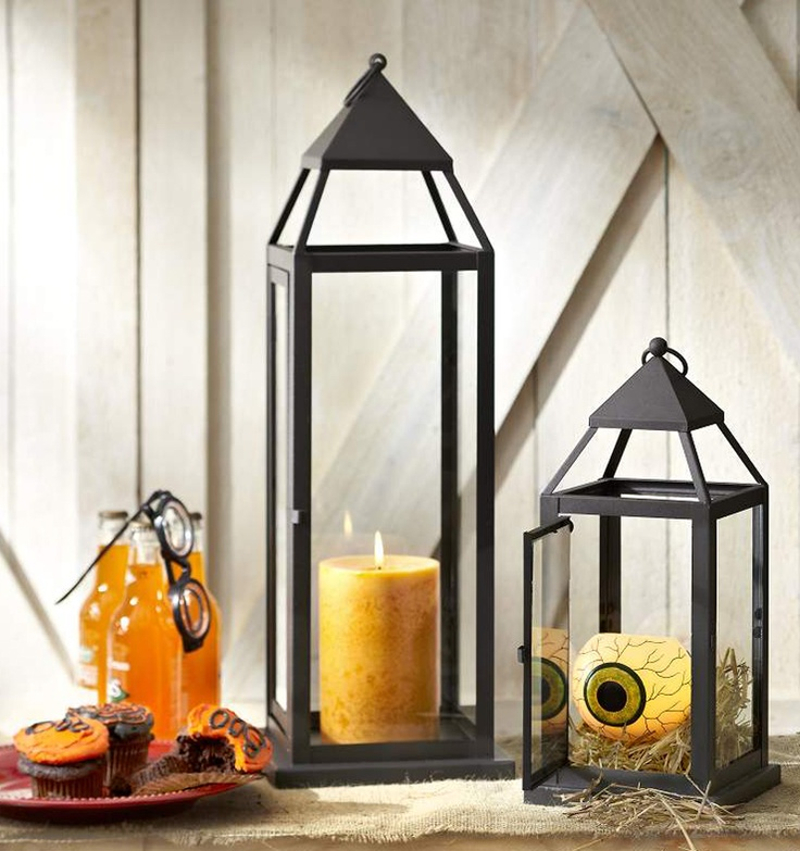 pier 1 black metal lanterns with a green eyeball led with timer - Pier 1 Halloween