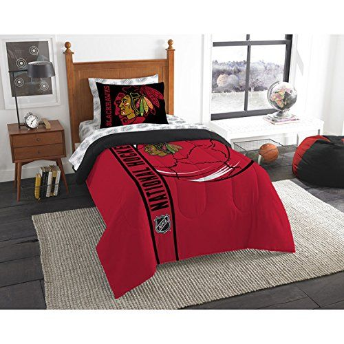 5 Piece Twin NHL Chicago Blackhawks Ice Hockey Team Comforter, Red White Black, Sports Pattern Bedding, Featuring Team Logo, NHL Merchandise, Team Spirit, Ice Hockey Themed, Polyester Material //Price: $64.22 & FREE Shipping //     #hashtag3
