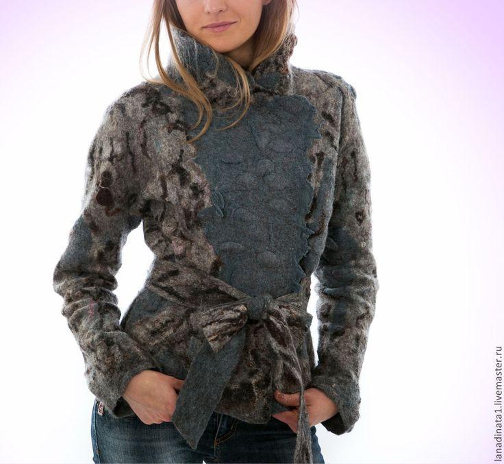 """Купить Куртка валяная """"Венецианская ночь"""", одежда из войлока, нуновойлок - темно-серый, валяная одежда"""