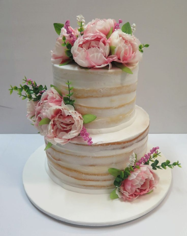 naked wedding cake with fresh flowers - Google Search