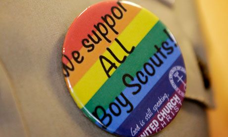"""Boy Scouts decision to allow openly gay youth members garners mixed reaction...05/24/13... While some gay-rights supporters praised votes outcome, others were disappointed in continued ban on gay adult leaders. White House spokesman Shin Inouye said President Barack Obama welcomed the Scouts' decision regarding gay youth but """"continues to believe that leadership positions in the Scouts should be open to all, regardless of sexual orientation."""" http://www.guardian.co.uk"""