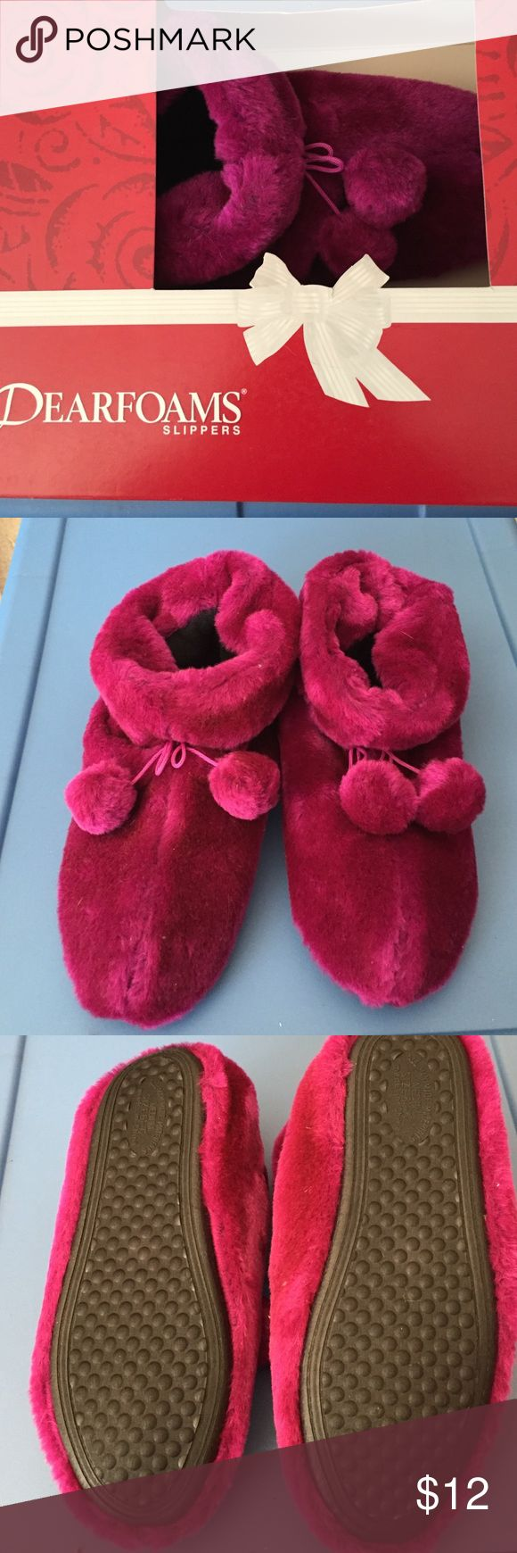 NWT Mulberry Dearfoam Slippers Soft and warm. Never used. Fleece outsides and cushioned insides. Tassel decorations. Not from a smoke free house. Dearfoam Shoes Slippers