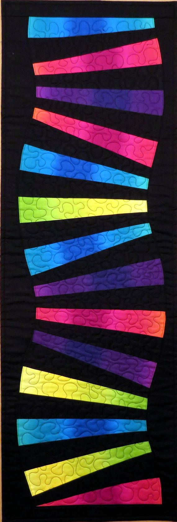 Modern Quilted Table Runner Wall Hanging Rainbow and Black