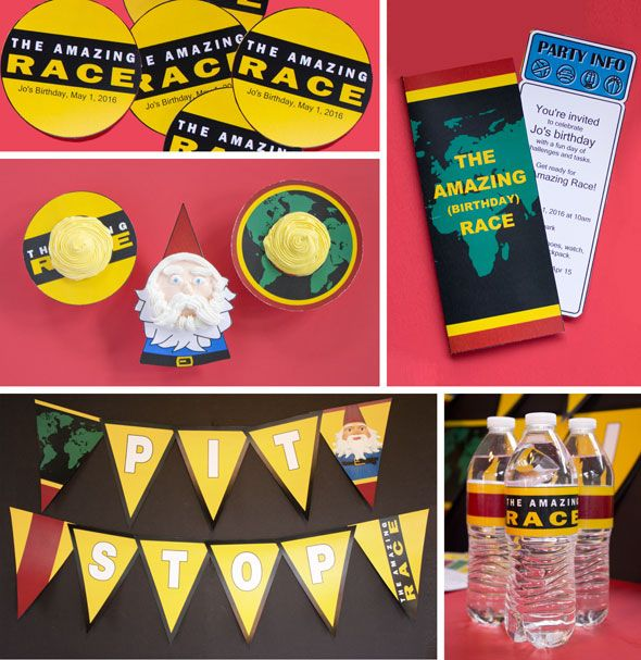 The Amazing Race party printables including sample clues, banners, cupcake decorations, invitations, and cake pop toppers.
