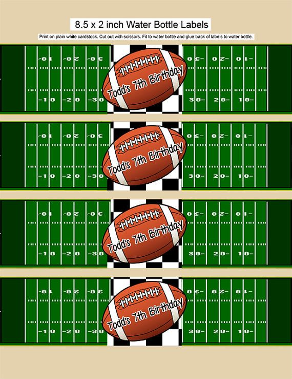 This listing is for a downloadable printable JPG file for our Football Water Bottle Labels. There are four 8.5 x 2 inch labels per sheet that are perfect for your kids football party.