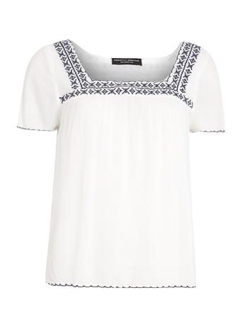 White Navy Embroidered Top