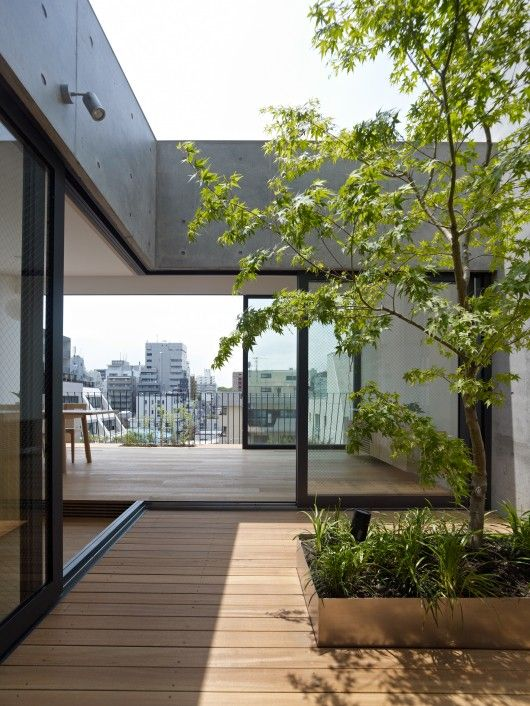 Grass Building / Ryo Matsui Architects -- this courtyard is on the fifth floor.