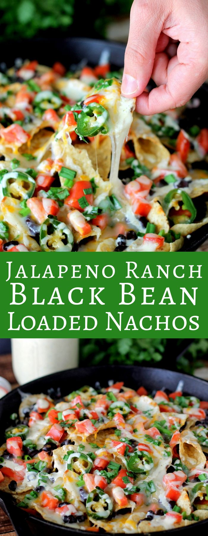Jalapeno Ranch Black Bean Loaded Nachos are loaded with fresh ingredients and homemade spicy jalapeno ranch. In less than 20 minutes you have the perfect dish!