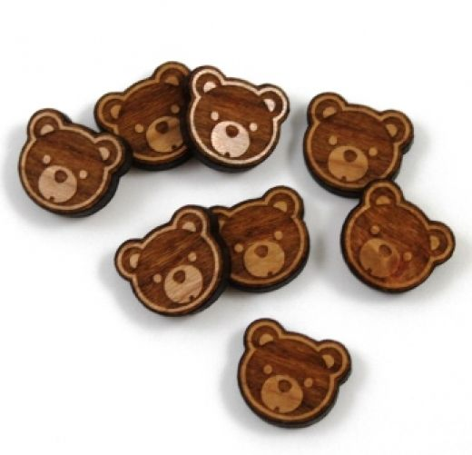 8 Pieces. Teddy Bear Charms -Mixed Laser Cut Wood Teddy Bear - Earring Supplies- Laser Cut Supplies- Little Laser Lab Sustainable Wood Products | littlelaserlab.com