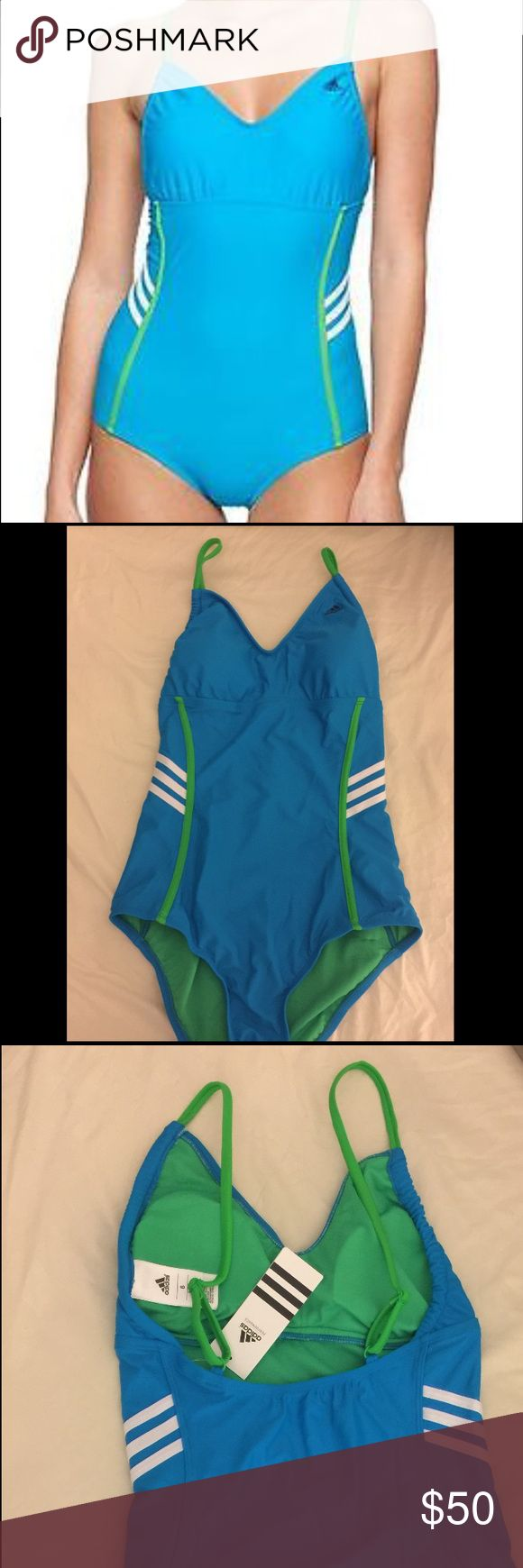 Adidas Classic Swimsuit 3-stripe accents on sides One-piece swimsuit Allover colorblock trim details Classic 3-stripe accents on sides V-neck Adjustable shoulder straps Logo detail on left chest Moderate back coverage Pull-on style Lined Material: 82% Nylon 18% ElastaneApprox. measurements (size 6): shoulder to hem 26″Care: Hand wash coldOrigin: Made in USAFit: This brand runs true to size. To ensure the best fit, we suggest consulting the size chart. Adidas Swim One Pieces