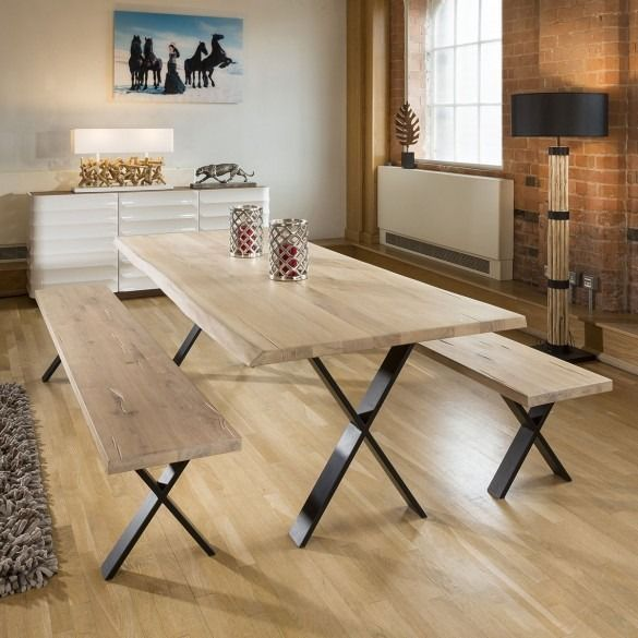 Quatropi Luxury White Oak Large Dining Table 2 4mtr Black Steel X