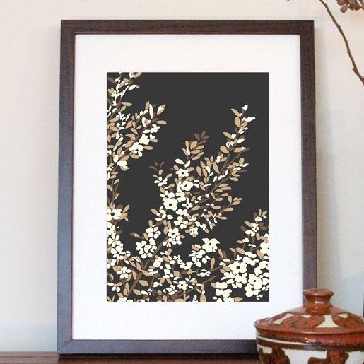 Coastal tea tree art print in black - hardtofind.