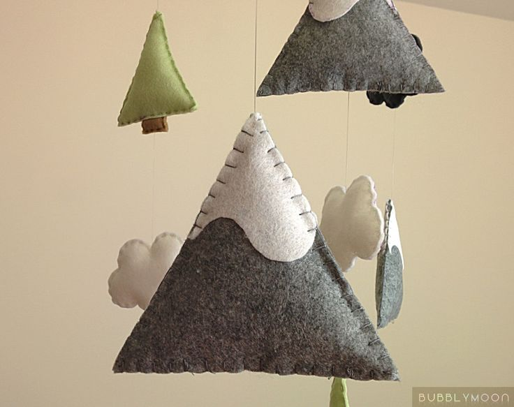 MADE TO ORDER »-› Mountains, clouds & trees baby mobile »-› All completely hand sewn »-› Each piece is made from felt & filled with polyester stuffing »-› Colours can be customised to your liking if preferred All of my mobiles are made with a lot of patience and care. ♥. DIMENSIONS: Frame: 12x12 Inches Felt Parts: 0.5-5 Inches ♥. DELIVERY TIMES; (Once your order has been made.) Please check shop announcement for current order completion time. UK: 1-3 days Everywhere Else: 5-7 wo...