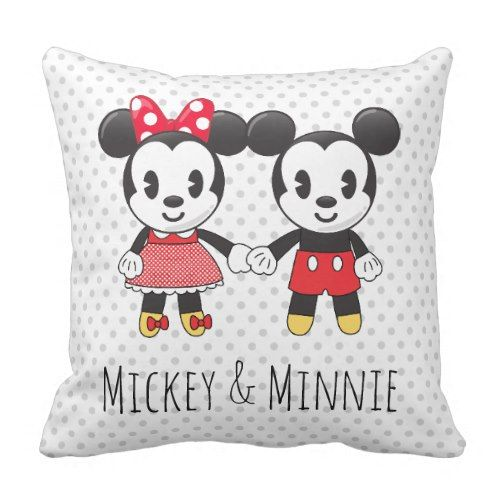 Mickey & Minnie Holding Hands Emoji Throw Pillow