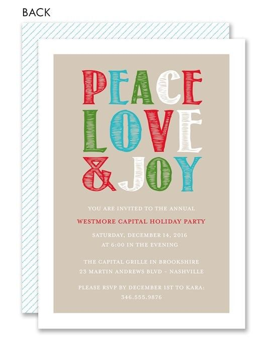 43 best kids holiday party images on pinterest christmas parties peace love joy holiday invitation charity holiday christmas party invitation m4hsunfo