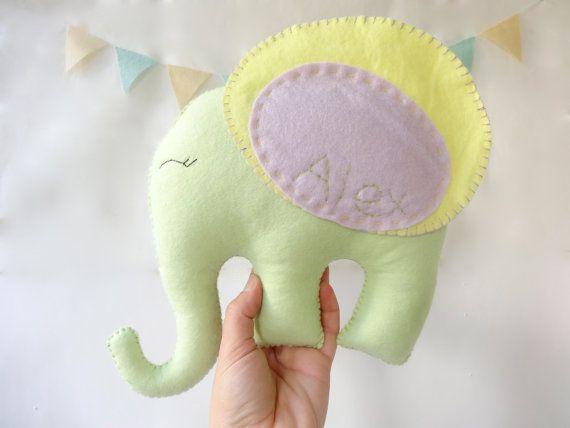 Elephant plush Animal, Felt elephant, plush Toy, elephant nursery room, nursery room decor, baby toy by LaPetiteMelina
