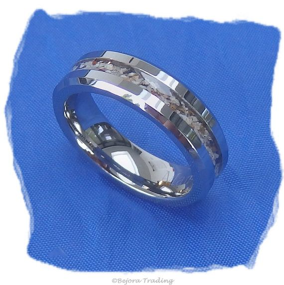 Widower's Ring - Very exclusive tungsten carbide 6mm width cremation ash ring.  The ashes of your loved one will be prepared and captured in resin within the ring.