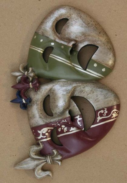 """Wall Plaque Comedy & Tragedy Harlequin, fleur de lis in design approx. 8"""" X 5"""" .75"""" depth Hanging hardware on back"""
