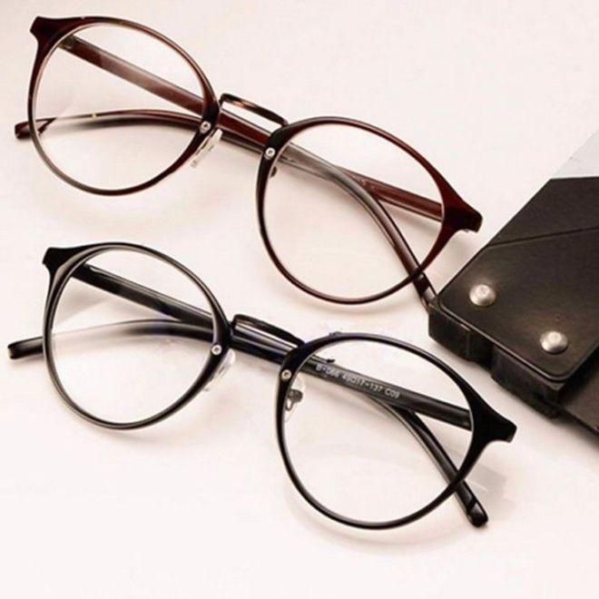 Detalhes Sobre Vintage Lente Clara Oculos De Armacao Retro Rodada